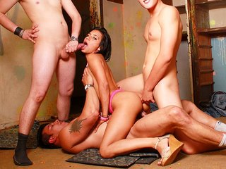 Amazing black-haired mega-bitch in..